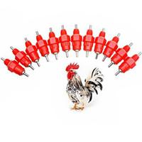 chicken feed - 10pcs Chicken Water Nipple Drinker Duck Hen Screw In Poultry Feeding Feeder Angle Poultry Watering Feeders
