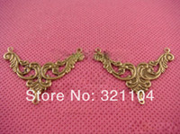 Wholesale Free ship mm antique bronze triangle shape sheet metal pendant filigree stamping spacer for jewelry making