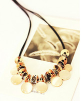Wholesale Opal section metal mirror wafer leather cord necklace High grade short paragraph clavicle necklace