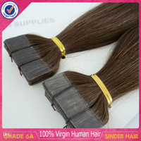 Wholesale Top Quality quot to quot g set Indian Remy Human Hair PU Tape Glue Skin Weft Hair Extensions Dark Color b
