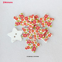 Cheap WHOLESALE(150PCS LOT) 2012 WOOD BUTTON WITH STAR SHAPE SEWING 24MM -SY0182