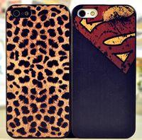 Wholesale 2 Colors Cartoon SuperMan Leopard Matte Plastic Design Hard Back Case Cover for IPhone s iphone4s FrozenA792