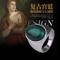 Cheap Fashion Oval Opal Palace Retro Titanium Rings Green Gray White Women And Men Vintage Ring Jewelry Wholesale