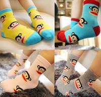 Wholesale Lovely Monkey Cartoon Boys Girls Shorts Sock Autumn Winter Cotton Korean Fashion Stocking Kids Childs Foot Wear Pairs J1754