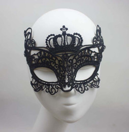 Party Mask Crown Mask Sexy Black Cutout Lace Mask Halloween mask mardi gras dance costume masquerade ball mask free shipping