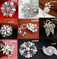 Wholesale 30pcs Fashion DIY Crystal Brooch With Beads Wedding Banquet Dress Accessaries Gifts For Friends wx202