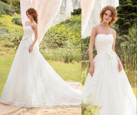 Wholesale New Custom Made A Line Wedding Dresses Sweetheart Sleeveless Lace Applique Ruched Sweep Train Formal Tulle Bridal Dresses Made In China ZX