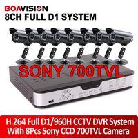 Wholesale 8CH Full D1 H HDMI P H VGA DVR kit SONY Effio TVL IR video outdoor camera CCTV system mobile surveillance