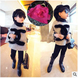 Wholesale 2014 Girls Winter New Style High Grade Woolen Poncho Coat Two Colors Children s Round Neck Coat