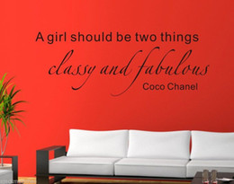 Wholesale Coco Chanel Quote wall sticker wall Decal Removable Art Vinyl Decor Kid wall paper home decoration