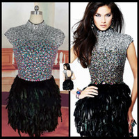 Wholesale Real Picture Dazzing Crystals Cocktail Dresses Sheath High Collar Heavy Beading Black Ostrich Feather Hollow Black Short Homecoming Dresses