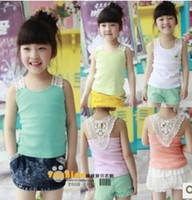 Wholesale Hot selll summer children lace vest girls candy colors cotton tops kids suspeder t shirt pink green orange white blue A4733
