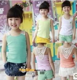 Wholesale Hot selll summer children lace vest girls candy colors cotton tops kids suspeder t shirt pink green orange white blue A4733