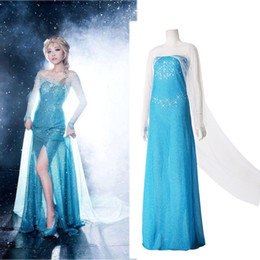 Wholesale Details about New Blue Princess Costume Cosplay Adult Women Lady Girls Tulle Elsa Dress S M L
