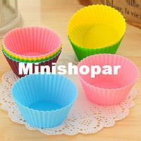 Wholesale 2014 SALE Round Shape Silicone Muffin Cases Cake Pudding Mini Chocolate Cupcake Mold Cup Cake Baking Mould Bakeware