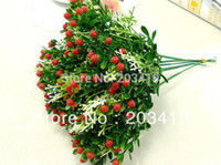 Cheap Wholesale-1PCS Bouquet Artificial strawberry flowers plants for Wedding Party Home Decoration gift craft DIY available wholesale