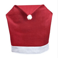 Wholesale cm cm Neve Christmas Dinner Chair Covers Soft Red and White Fabric Santa Hat Banquet Christmas Crafts For New Year
