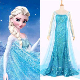 Wholesale Halloween Sets Frozen Queen Elsa Cosplay Dress Snow Cosplay Costume Adult Lady Frozen Dress Size S XXL DH04