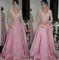 Wholesale 2014 Designer Sexy Evening Dresses With Sleeved Lace Applique Beaded Prom Gowns Floor Length Taffeta Long Formal Evening Gowns With Ribbon