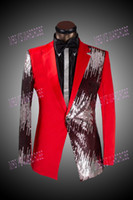 Wholesale 2014 latest suit fashion red tuxedo jacket plus size sequin jacket man prom suits pieces jacket pants tie plus size