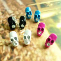 Wholesale European and American trade jewelry Harajuku Japan and South Korea wind fluorescent colors flash diamond skull earrings personalized earrin