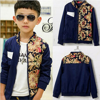 Cheap 2014 Autumn Winter Children Big Boy's Clothing Fashion Stitching Print Long Sleeve Zipper Jacket Coat,Retro Style Europe Jacket,5 Pcs Lot B