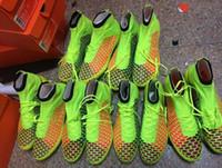 Wholesale Top Brand Ankle Net Soccer Boots Football Shoes Men Hi Cut Athletic Boot Magista Obra FG Ball Cleats Mix Orders Dropship Cheap Original Box
