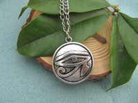 egyptian jewelry - vintage silver Egyptian necklace Eye of Horus Egyptian Jewelry Hieroglyph Charm