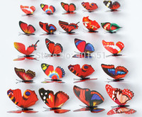 Wholesale 36pcs cm Colorful D Artificial Butterflies with Magnet Fridge Sticker Magnets Waterproof f Home Christmas Wedding Decoration
