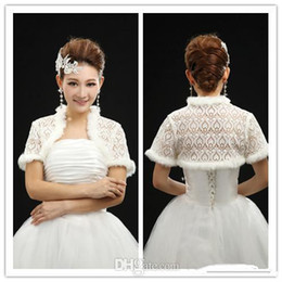 Wholesale No Risk Shopping Modern Best Selling Lace And Fur Short Sleeve Wraps Cape Shrug Shawl Bridal Wraps Jackets
