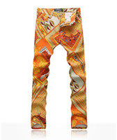 american drew quality - Men s Fashion Jeans Hot orange Elastic Printed Jeans Male Slim Colored Drawing Long Trousers Autumn Winter Spring High Quality