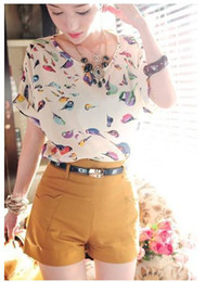 Wholesale 2013 Hot Sale New Summer autumn Women Colorful Birds Chiffon T shirt Batwing Loose Blouse Tee Tops C1363