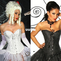 Cheap Plus Size Black Full Spiral Steel Boned Overbust Corset Lace Up Basque Steel Boned Corset Free Shipping Black Corset