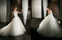 Wholesale 2015 Demetrios Backless Crystal Wedding Dresses Ball Gown Sweetheart Bride Dress Beading Sequins Sash Tulle Chapel Train Noble Gown