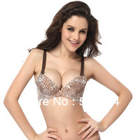 Cheap 2014 Women's Sexy One Piece Push Up Underwear AB 3 4 CUP Oil massage and soft balls water bag bra a bra spots Leopard