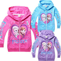 Wholesale Frozen Elsa Anna Girls Hoodies Sweater Kids Autumn Color Long Sleeved Zip Cardigan Sweater Coat Children Top Fashion Hoodies DG GD26