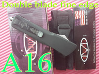 Wholesale New High quality A16 Microtech OTF double action knife Double blade fine edge button in side with bylon bag box Hunting Fighting Knife X