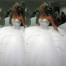 Wholesale 2014 Bling Bling big poofy wedding dresses Custom Made Plus Size Tulle Ball Gown Beads Crystal vestidos de novia puffy Ballgown Dress