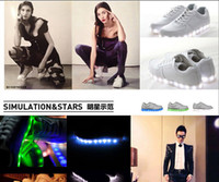 Wholesale Free ship high quality SIMULATION leather LED SHOE white sneaker USB charging lights led light colors in leisure shoe