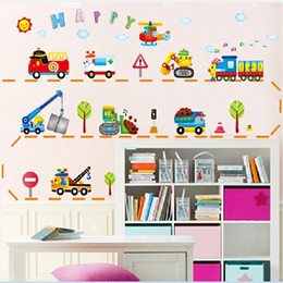 Wholesale Cartoon transportation car vinyl wall stickers for kids rooms home decor living room sofa wall decals home decoration wallpaper
