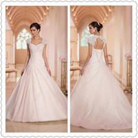 Wholesale Elegant Vintage Stella York Wedding Dresses Capped Ruffle Beading Ball Gown Bridal Celebrity Gowns Sheer Wedding Dresses New Arrival