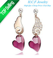 Wholesale New Christmas Gift Fashion K GP Fashion crystal earrings with the wings of the angel crystal pendant