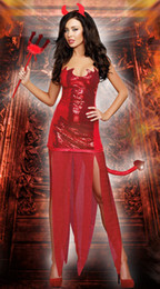 Wholesale 2014 Andrew Halloween Amazing Sexy American Costume Bull Ox Demon Queen with Fork Tail Outfit