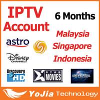 6 meses buen Quanlity Malasia Cuenta IPTV para Android TV Box con Astro canales completos en Malasia Singapur Indonesia
