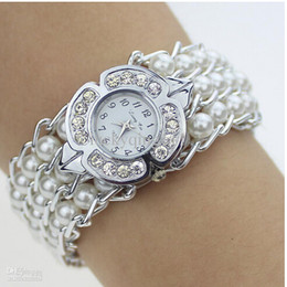 High Quality Fashion Wrap Pearl Bracelets Watches Quartz Watches Bracelets Pearl Women Wrist Watches White Color Free Drop Shipping