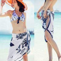 Wholesale 20pcs Sexy Open Wrap Summer Chiffon Swimwear Bikini Cover Up Sarong Beach Dress Pareo nx120