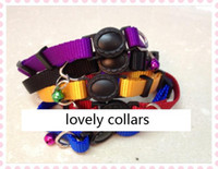 Wholesale New Adjustable Safety Buckle Cat Nylon Solid Color Pure Color Collar Puppy Collar Colors