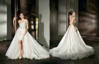 Wholesale 2015 Luxury Demetrios Backless Wedding Dresses One Shoulder Crystals Tulle Zipper Detachable Court Train A Line V Neck Bridal Dress Gowns