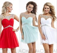 Cheap 2014 Short Sheer Homecoming Dresses Prom Cocktail Gown Bateau Rachel Allan White Chiffon Pleats Corset Crystal Hollow Backless A line WW1983