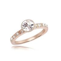 Wholesale High quality new multi color K gold wedding fashion zircon crystal gemstone rings pretty retro noble woman jewelry